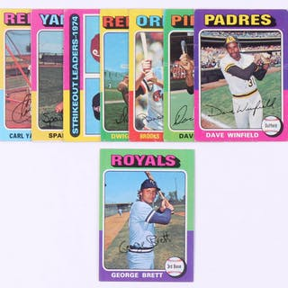 Lot Of 8 1975 Topps Baseball Cards With 228 George Brett Rc