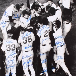 1986 Boston Red Sox AL Champs 16x20 Photo Signed by (22) with Wade