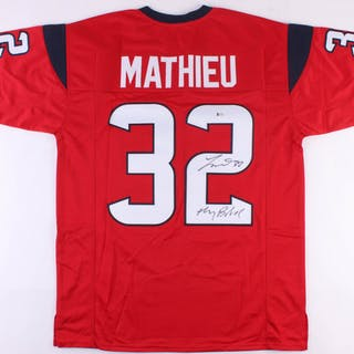 new arrival 83243 2bd54 Tyrann Mathieu Signed Texans Jersey Inscribed