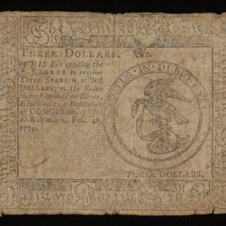 1777 $3 Three Dollars Continental Colonial Currency Note