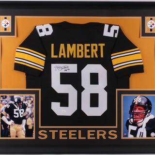 56a57a294 Jack Lambert Signed Pittsburgh Steelers 35x43 Custom Framed Jersey –  Current sales – Barnebys.com