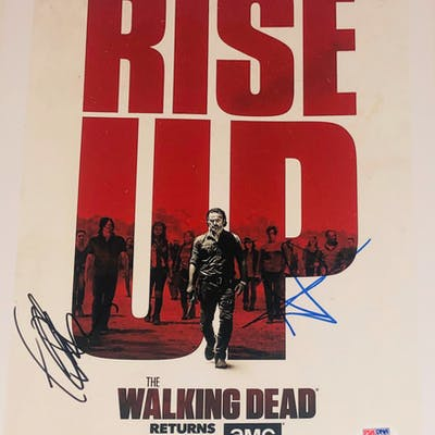 """Andrew Lincoln & Jeffrey Dean Morgan Signed """"The Walking Dead"""" 11x14"""