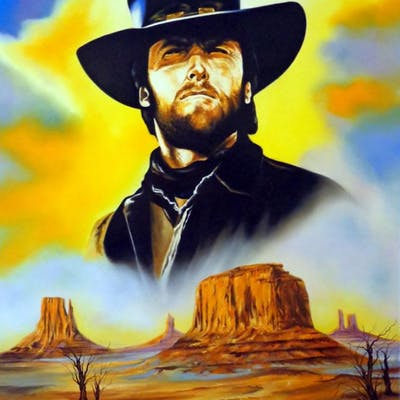 """Hector Monroy Signed """"Clint Eastwood"""" 31.5x41 Original Oil Painting"""