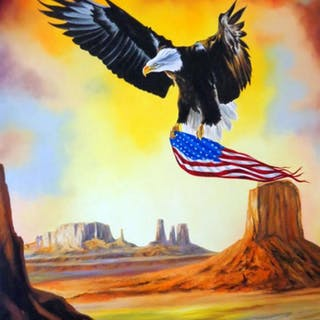 """Hector Monroy Signed """"Wings of Liberty"""" 29.5x41 Original Oil Painting"""