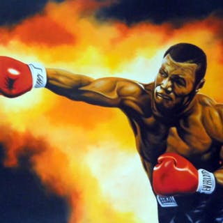 """Hector Monroy Signed """"Mike Tyson"""" 26x34 Original Oil Painting on Canvas"""