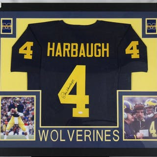 competitive price 8d9d1 0aaa4 Jim Harbaugh Signed Michigan Wolverines 35x43 Custom Framed ...