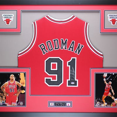 new concept a41c2 d5957 Dennis Rodman Signed 35x43 Custom Framed Jersey (PSA COA ...