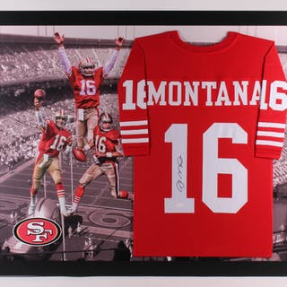 buy popular c3c32 0fe8d Joe Montana Signed San Francisco 49ers 35.75x44 Custom ...