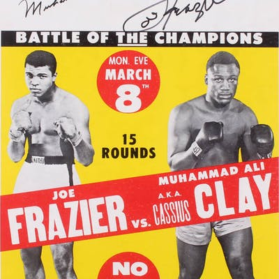 "Muhammad Ali ""AKA Cassius Clay"" & Joe Frazier Signed ""Fight of the"