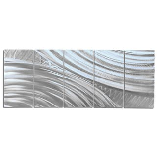 """Moment of Impact"" 0.5x24x64 Abstract Metal Art by Helena Martin"