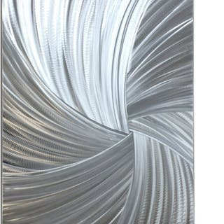 """Within the Folds"" 0.5x24x30 Starburst Metal Art by Helena Martin"