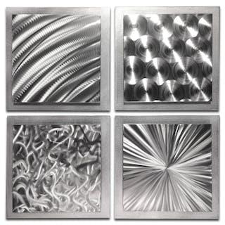"""Silver Seasons"" 1x25x25 Abstract Metal Art by Helena Martin"