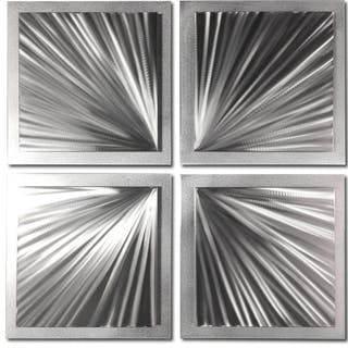 """Silver Speed"" 1x25x25 Starburst Metal Art by Helena Martin"