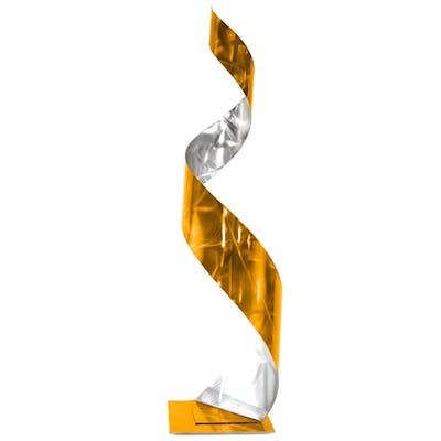 """Gold Curl Sculpture"" 9x9x35 Abstract Metal Art by Helena Martin"