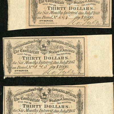 Lot of (3) 1864 $30 Thirty Dollar Confederate States of