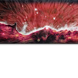 """Celestial Landscape Red 48"" 1x19x48 Original Abstract Art by Helena Martin"
