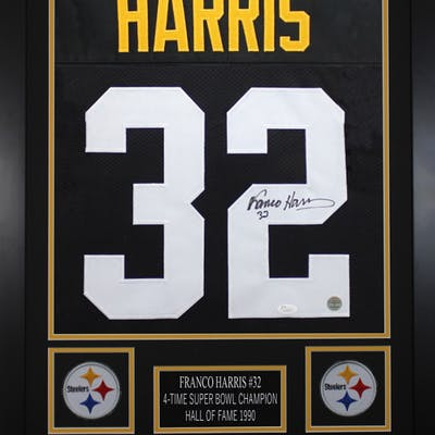 Franco Harris Signed Pittsburgh Steelers 24x30 Custom Framed Jersey