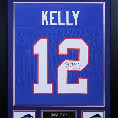 Jim Kelly Signed 24x30 Custom Framed Jersey (JSA COA)