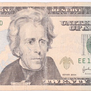 "Seven-In-A-Row ""Fancy Serial Number"" 2004 $20 Twenty Dollars Federal"