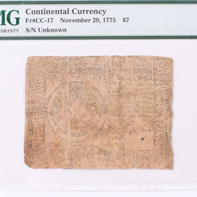 1775 $7 Seven Dollars Continental Colonial Currency Note (PMG 10)