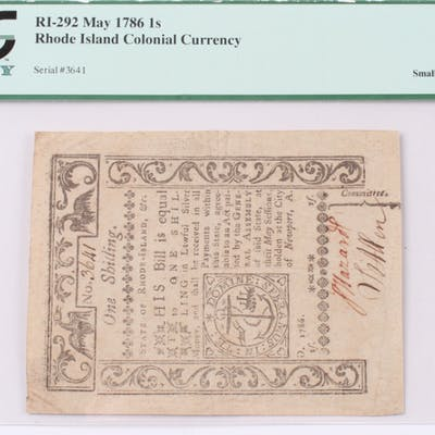 1786 1s. One Shilling Rhode Island Colonial Currency Note (PCGS 30, Apparent)