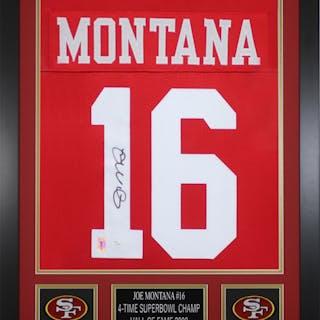 f754cc207 Joe Montana Signed San Francisco 49ers 24x30 Custom Framed Jersey – Current  sales – Barnebys.com