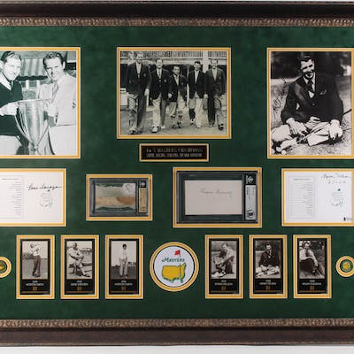 """First Five Masters Champions"" 40.25x30 Custom Framed Golf Display"