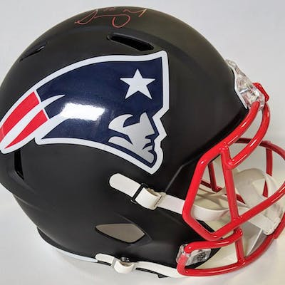 Sony Michel Signed New England Patriots Matte Black Full-Size Speed