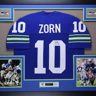 Jim Zorn Signed Seattle Seahawks 35x43 Custom Framed Jersey (Mill