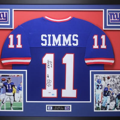 "Phil Simms Signed 35x43 Custom Framed Jersey Inscribed ""SB XXI MVP"""