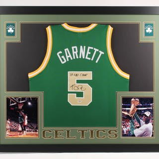 reputable site 3699c 459a5 Kevin Garnett Signed Boston Celtics 35x43 Custom Framed ...