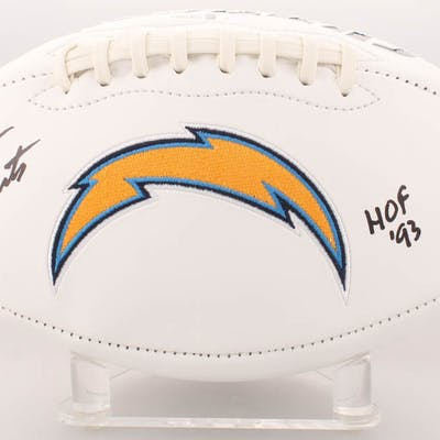 """Dan Fouts Signed San Diego Chargers Logo Football Inscribed """"HOF 93"""""""