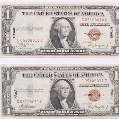 Lot of (2) 1935-A $1 One Dollar Hawaii Brown Seal Silver
