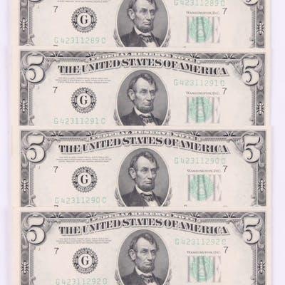 Lot of (4) 1950-B $5 Five Dollars Federal Reserve Bank Note Bills