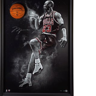 "Michael Jordan Signed Chicago Bulls ""No Look"" 44x64 Custom Framed"