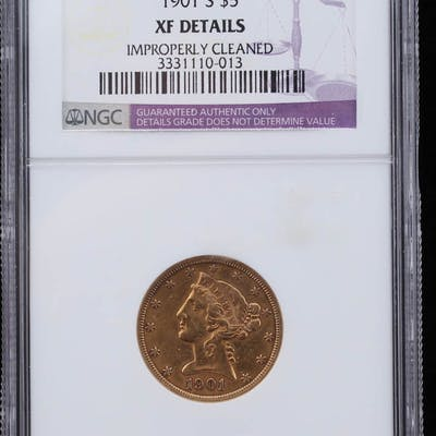 1901-S Liberty Head $5 Five Dollar Gold Coin (NGC XF Details)