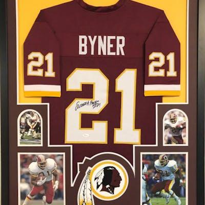 Earnest Byner Signed 34x42 Custom Framed Jersey (JSA COA)