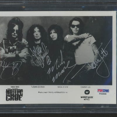 """Motley Crue"" 5x7 Photo Signed by (4) with Tommy Lee, John Corabi"