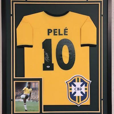 Pele Signed 34x42 Custom Framed Jersey (PSA COA)