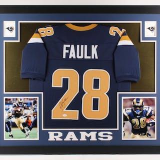 online retailer 36ac0 3d2b0 Marshall Faulk Signed St. Louis Rams 35x43 Custom Framed ...