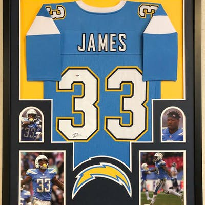 Derwin James Signed Los Angeles Chargers 34x42 Custom Framed Jersey (PSA COA)