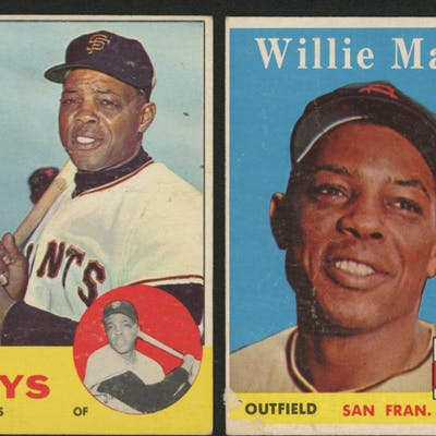 Lot Of 2 Willie Mays Baseball Cards With 1963 Topps 300 1958