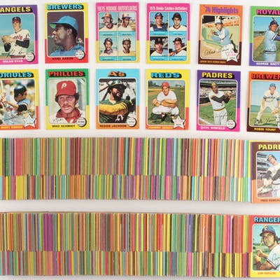 Lot Of 623 1975 Topps Baseball Cards With 228 George Brett Rc