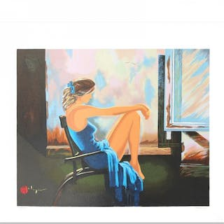 "Alexander Borewko Signed ""Lady In Blue"" Limited Edition 16x19 Serigraph"