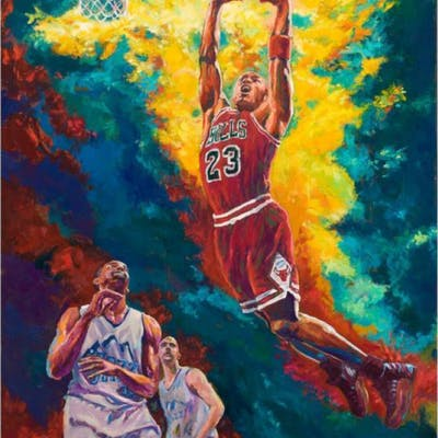 "Turchinsky Dimitry Signed ""Michael Jordan Dunks"" Limited Edition 30x24"