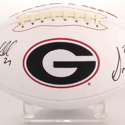 huge selection of 32f3c 7ef01 Sony Michel & Nick Chubb Signed Georgia Bulldogs Logo ...