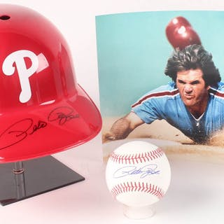 Lot of (3) Pete Rose Signed Items with (1) OML Baseball, (1) 8x10
