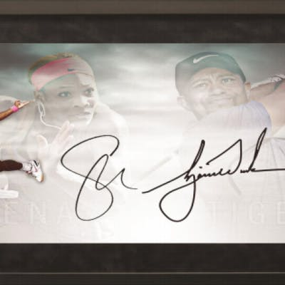 Tiger Woods & Serena Williams Signed 18x36 Custom Framed Limited Edition