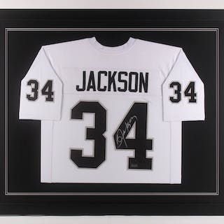 big sale e8a7c 8e605 Bo Jackson Signed Oakland Raiders 35.5x43.5 Custom Framed ...