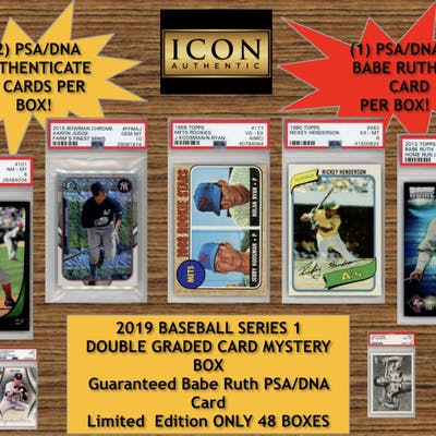 Icon Authentic 2019 Baseball Series 1 Double Graded Card Mystery Box